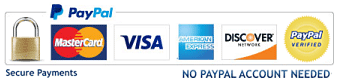credit card payments accepted including MasterCard, Visa, American Express and Discover card
